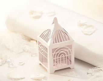 Delightful White Birdcage Design Wedding Favour Box - Pack of 10