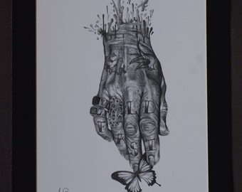 Tattooed Hand Graphite Drawing Mount Art Print