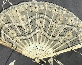 "Vintage Fan Art Deco Era Handmade // Ecru Fabric with Lace Flower Appliqués and Silvery Sequins // rose carved celluloid bones and 3"" ring"