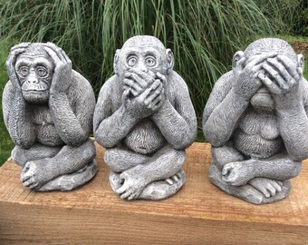 Stone garden set of 3 wise monkeys see hear speak no evil statues ornaments