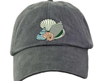 SEASHELLS Hat.  Ladies Monogram Hat.  Monogram Baseball Hat. Cool Mesh Lining & Adjustable Strap. 33 Colors Avail. HER-LP101