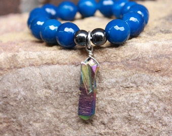 Multi Colored Blue Agate Stretchy Charm Bracelet Beaded Charm Bracelet Stretch Bracelet Stackable Bracelet Layering Bracelet Elastic