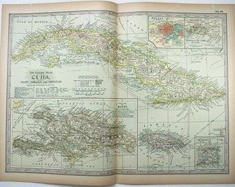 Original 1897 Map of Cuba, Haiti, Jamaica & Trinidad by The Century Company