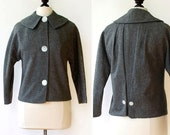 ON RESERVE 25% off SALE vintage 1950s jacket <> late 1950s gray wool jacket <> ladies 3 button suit jacket with decorative back