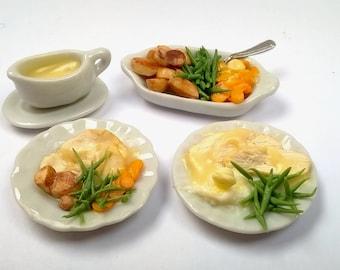 Dolls House Food: Miniature Food - Realistic; Delicious Hot Roast Chicken Dinner with Vegetables, Roast Potatoes & Gravy;  Handmade; OOAK