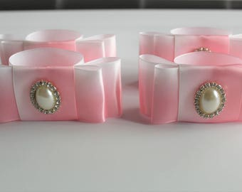 Ombre pink Satin Ribbon napkin rings with Pearl Rhinestone Button(set of 4)