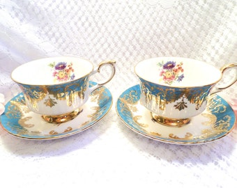 FREE SHIPPING! Paragon Fine Bone China Vintage Teacups & Saucers By Appointment To Her Majesty The Queen Made In England Blue Gold Set Of 2