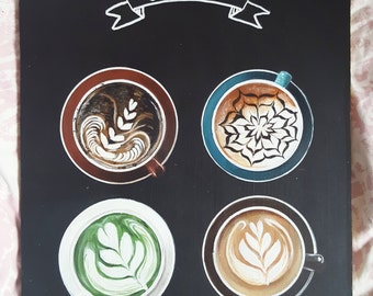 Table paint cups coffee coffee shop latte art