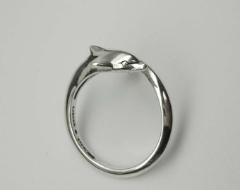 Vintage Sterling Silver Dolphin Wrap Around Ring