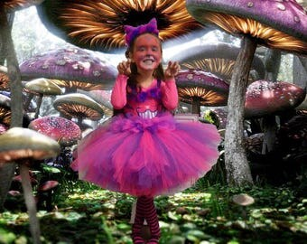 "Cheshire Cat Inspired Tutu Dress with ""Ears"" Headband!"
