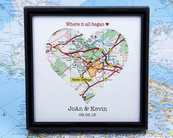 Where It All Began, Where It Began Map, Heart Map Art, Custom Framed Map, Unique Wedding Map, 1st Anniversary Map, Map Engagement Gift