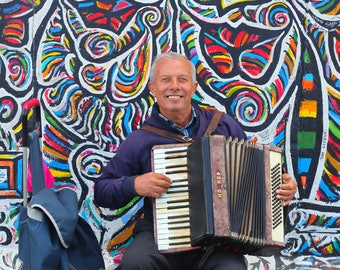 Travel Photography- Accordion Man, Berlin Wall, Germany, European, Fine Art Photograph, Color Photo, Square