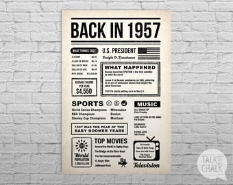 Back In 1957 Newspaper-Style Poster, 60th Birthday PRINTABLE Sign, 60th Birthday DIGITAL Poster, 60th Birthday Gift, 1957 Sign, 1957 Poster