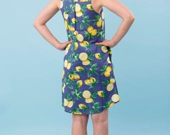 Blue Lemon dress, Lili dress, 100% cotton dress, summer vacation dress, yellow lemon, fruit printed dress