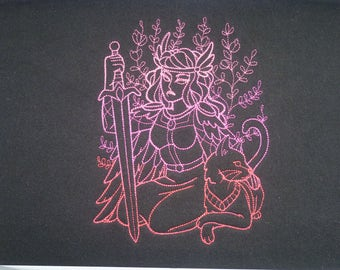 Freya Cushion Cover Embroidered Pillow Case god goddess Norse Viking
