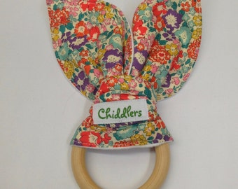 Liberty of London D'anjo fabric handmade natural wooden maple teething ring with bunny ears in