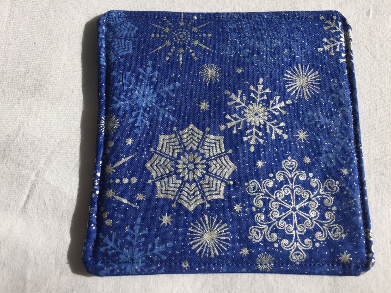 Blue Drink Coasters, Blue Coasters, Absorbent Coasters, Fabric Drink  Coaster, Snowflake Coasters, Winter Coasters, Blue Coaster Set