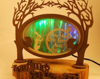 Alice in wonderland lamp, green, wood, paper lamp, unique design, signed wonderfull representation of Lewis Carol's tale