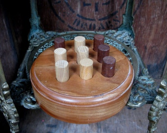 Noughts And Crosses, Wooden Game, Hand Carved, Treen, Wooden Game, Wooden Puzzle, Puzzle Game, Tic Tac Toe, Family Game, Paper And Pencil