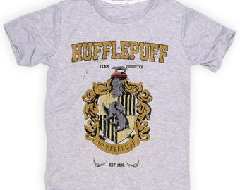 S M L XL ***  New With Tag *** Hufflepuff ** Harry Potter ** Hogwarts ** Funny Shirts  ** Tshirts **  Light GRAY Tee Super Soft