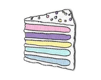 Pastel rainbow cake iron on patch