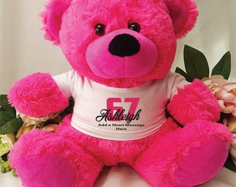 Personalised Birthday Bear - Hot Pink