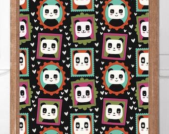Personalised Childrens Wall Art Panda Snaps Series Pattern