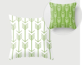 Decorative Throw Pillow Cover - Different sizes, Square, Rectangular, Double-sided print, Indoors, Outdoors, Custom, Color, Arrows, Green