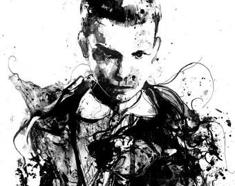 Stranger Things, Film TV Poster, Stranger Things Art, Movie Art, Tv show Art Print, Movie Poster,  black and white art, Ink Art Print, Dark