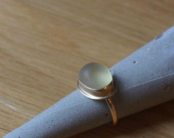 Beautiful Gold Statement  Ring with Gold Bezel Sea Glass