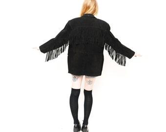 Boho Vintage Suede Black Fringe Jacket / Split End Ltd Black 70s Fringe Southwestern coat