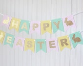 Gold, Pink, yellow, mint Happy Easter Banner/ Girl Birthday/ Easter Party/ Party Decorations/ Custom Name/ Personalized, Gold bunny