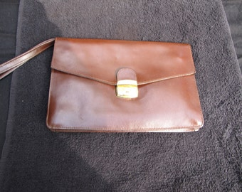 Beautiful Brown Leather Wrist Handled Handbag