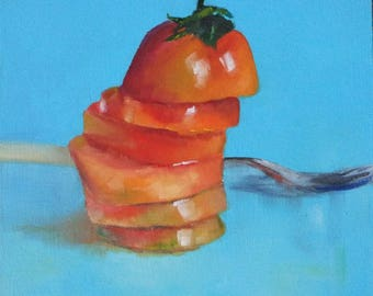 Original small oil painting of a sliced tomato