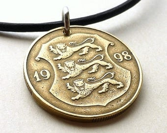 Estonian, Coin necklace, Lion necklace, Men's necklace, Animal necklace, Coin pendant, Coin jewelry, Leather necklace, Repurposed coin, 1998