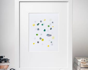 """8x10"""" Modern Abstract Oil Painting on Paper, Yellow, Blue, Green, Grey, Modern Dot Painting, Abstact wall art, Small Painting, Geometric"""