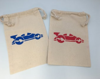 Race Car Party Favor Bags with Race Car Designs, Optional Personalisation - Muslin Bags With Racing Car Designs, Transport Party Supplies
