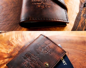 Leather Passport Cover - Travel Passport - Personalized Wallet - Passport Cover... Custom Full Grain Leather Passport