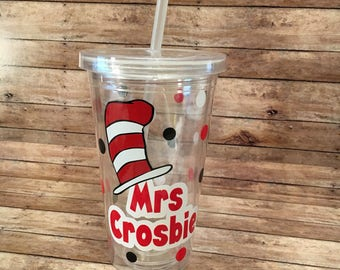 Dr Seuss, Cat In The Hat, Teacher Tumbler