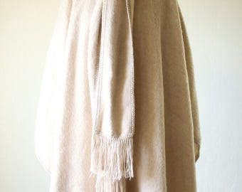 Vintage Peruvian Alpaca Wool Cape button down with scarf / Minimal Full Length Brown Womens Poncho Capchatex fringe / fuzzy wool soft
