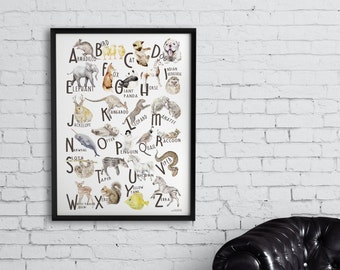 ABC Animal Alphabet Poster - Original Watercolors