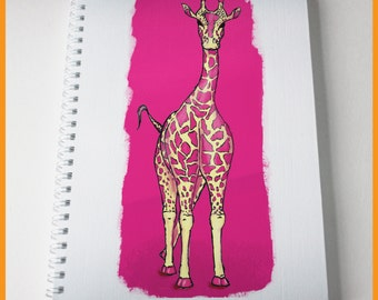Pink giraffe notebook. A5. Dip pen and ink illustration, digitally coloured. Can be personalised for a great gift.