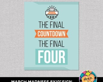 """March Madness 8x10"""" Party Sign. Basketball Party Straw Flags.  *DIGITAL DOWNLOAD*"""