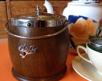 Vintage tea caddy canister in oak with chrome lid and ceramic liner