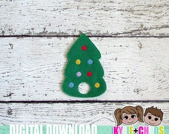 Christmas Tree Finger Puppet ITH Embroidery Design