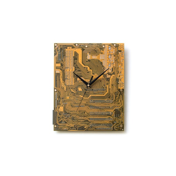 Circuit Board Clock, Dark Yellow Decor, Yellow Wall Clock, Boyfriend Gift, Husband Gift, Unique Gift, Industrial Clock, Modern Wall Clock