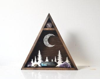 Triangle Shelf, Geometric Shel, moon phase display - Mandala Pine Tree Moon