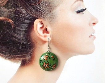 greenery dangle earrings green jewelry green gift women wedding green holiday Patrick's day st patricks day trending jewelry|for|her gifts