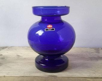 Ingrid design vase glass, mid century design, Ingrid Glass blue, vase Glashütte, collectible Blue Vase 70s, house warming, design 70