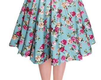 Full Circle Skirt Vintage Skirt Floral Print Swing Skirt Pin Up Skirt Rockabilly Clothing 50s Skirt Retro Skirt Party Skirt Pin Up Clothing